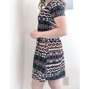 Alya Anthropologie Black Tribal Skater Dress